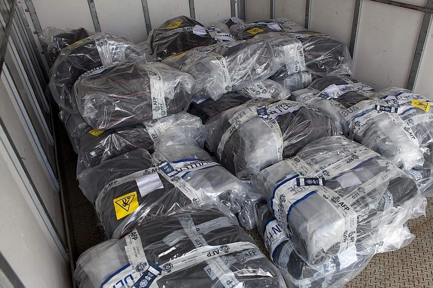Packages of cocaine that were seized from the yacht off the New South Wales coast by Australian police. High street prices in Australia are attracting drug smugglers.