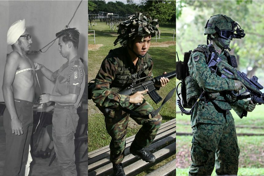 (From left) The first day of registration for National Service at Kallang Camp. An SAF recruit negotiates the steps of the Jacob's Ladder during a practice run of the SOC (Standard Obstacle Course). An SAF soldier equipped with the The Advanced Man C