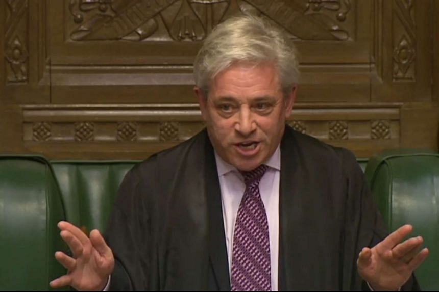 In a still image taken from footage broadcast by the UK Parliamentary Recording Unit (PRU) on February 6, 2017 Speaker of the House of Commons John Bercow responds to a point of order from Labour politician Stephen Doughty on the state visit of US Pr