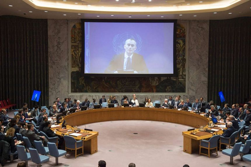 Nickolay Mladenov (shown on screen), UN Special Coordinator for the Middle East Peace Process and Personal Representative of the Secretary-General to the Palestine Liberation Organization and the Palestinian Authority, as he briefs the Security Counc