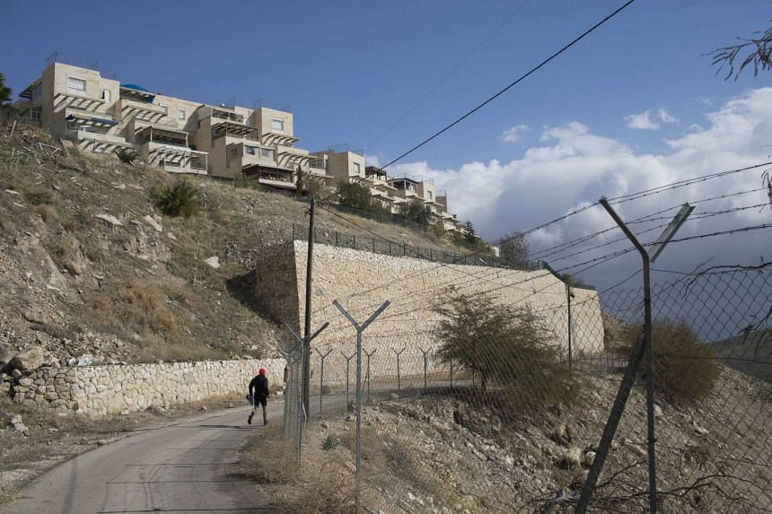 The security fence of the West Bank Israeli settlement of Maale Adumim, near Jerusalem on Jan. 27, 2017.