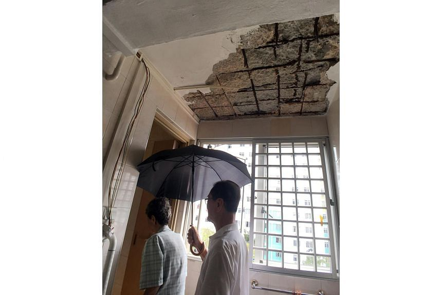 Retiree Li Zhanwu (right) shielding his wife Chen Xiuying with an umbrella as she is now afraid to go to the toilet after parts of the ceiling fell.