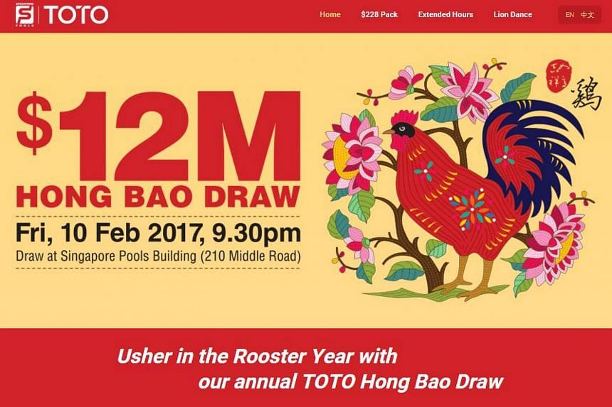 The winning numbers for this year's $12 million Toto Hongbao Draw will be announced on Feb 10 night.