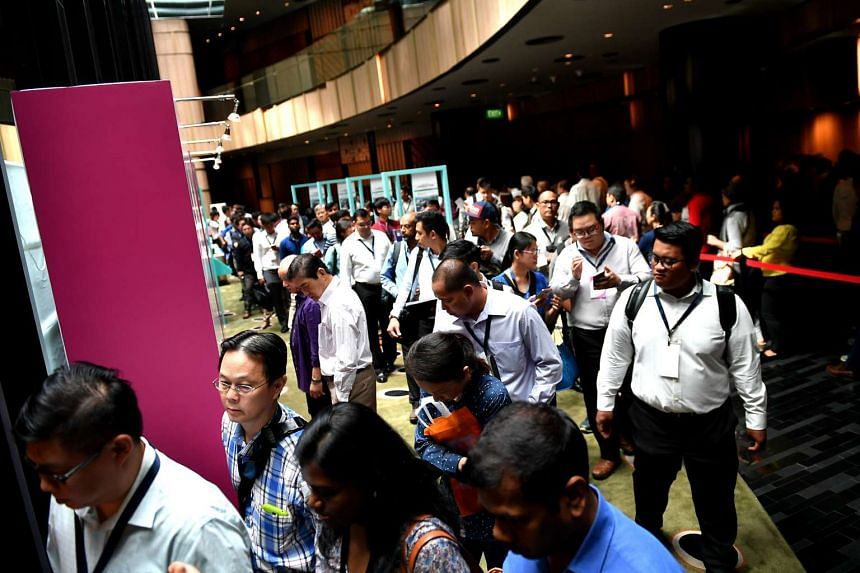 The crowd at the career fair at Crowne Plaza Changi Airport on Feb 8, 2017.