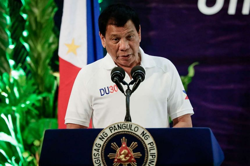 Philippine President Rodrigo Duterte speaks as a guest of honour at the 115th founding anniversary of the Bureau of Customs in Manila on Feb 8, 2017.