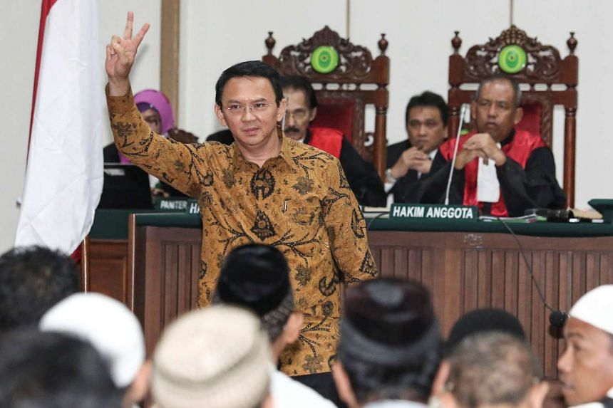 Jakarta Governor Basuki Tjahaja Purnama, also known as Ahok, gesturing inside the courtroom during his blasphemy trial at the auditorium of the Agriculture Ministry in Jakarta, Indonesia, on Jan 3, 2017.