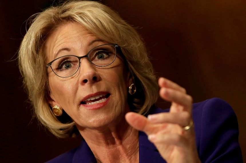 The chamber was deadlocked at 50-50, with two Republicans breaking rank to oppose DeVos (above).