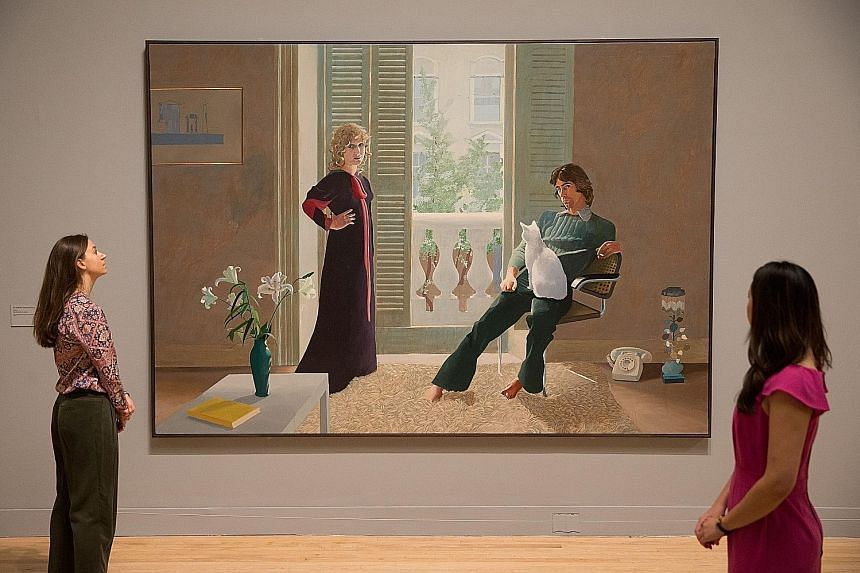 Mr And Mrs Clark And Percy 1970-1 by British artist David Hockney, one of the works on show at the Tate Britain gallery.