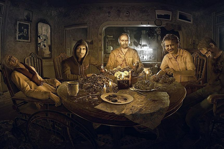 Welcome to the Baker family - (from left) mysterious grandma, Lucas, Jack and Marguerite - and protagonist Ethan of RE7: Biohazard. The game excels at creating an eerie atmosphere and maintaining suspense. Every dimly lit corridor, creaking floorboar