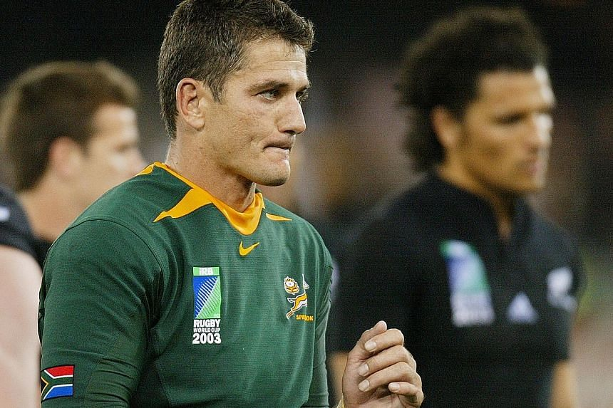 Springboks legend Joost van der Westhuizen looking despondent after losing the 2003 Rugby World Cup quarter-final 9-29 to the All Blacks. The former South Africa captain and 1995 World Cup winner had been diagnosed with motor neurone disease in 2011.
