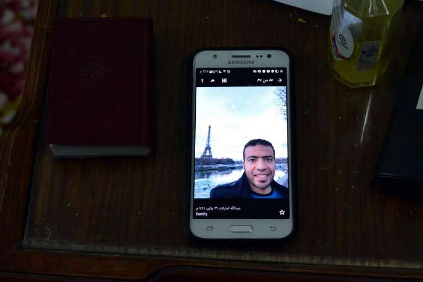 A picture showing Abdallah El-Hamahmy, who is suspected of being the man who tried to attack a group of French soldiers at the Louvre with a machete.