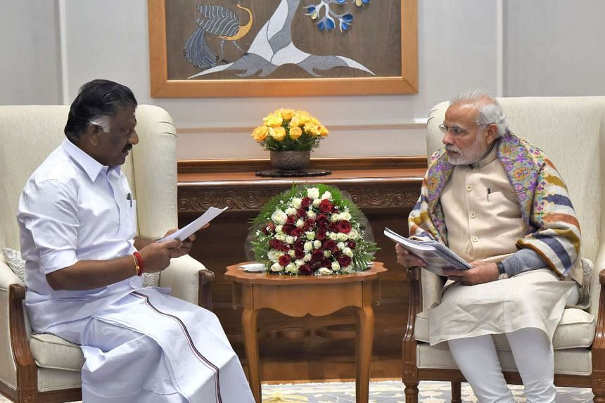 Indian Chief Minister of Tamil Nadu O. Panneerselvam meets with Prime Minister Narendra Modi in New Delhi in this photograph released on Jan 19, 2017.