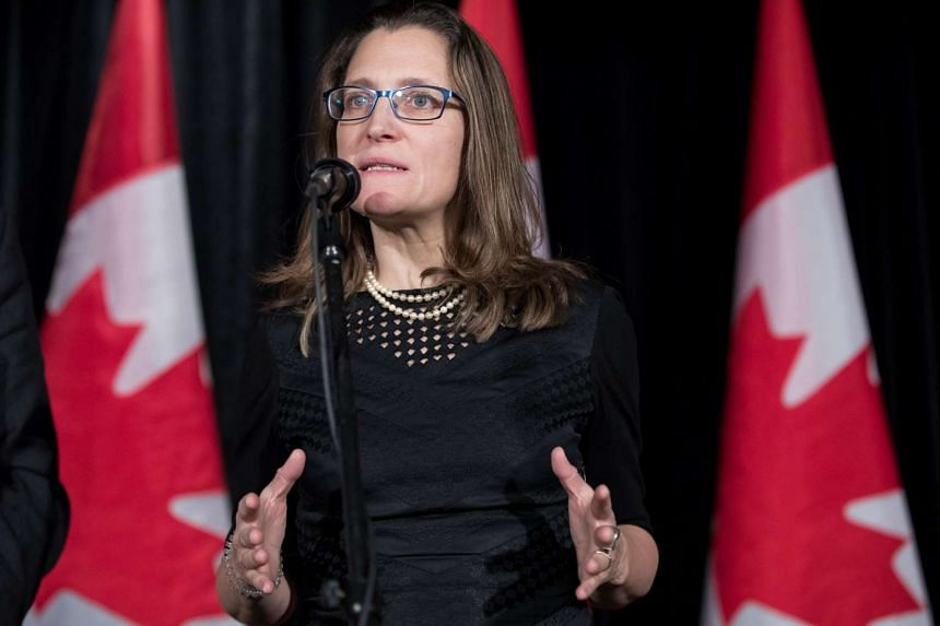 Canada's foreign minister Chrystia Freeland  in a two-day Liberal retreat in Calgary, Alberta, Canada on Jan 24, 2017.