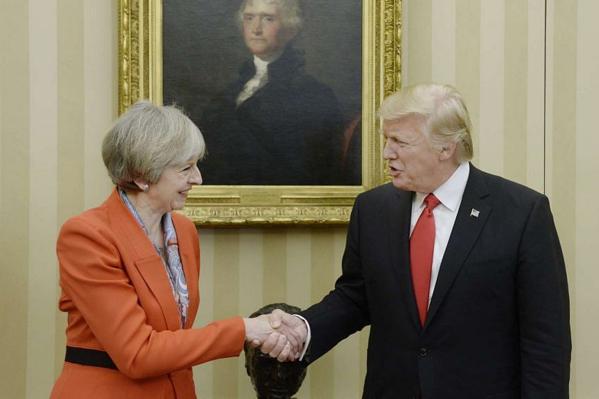 US President Donald J. Trump meets with British Prime Minister Theresa May in the oval Office of the White House in Washington, DC on Jan 27, 2017.