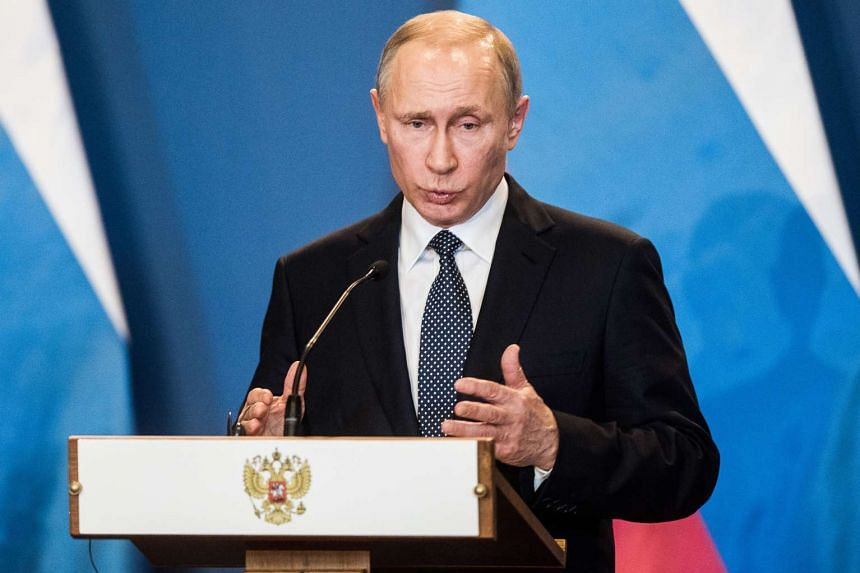 Vladimir Putin, Russia's president, speaks during a news conference in Budapest, Hungary, on Feb 2, 2017.