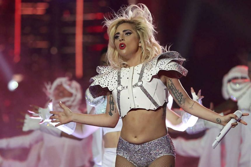 Lady Gaga performs during the halftime show at the Super Bowl, Feb 5, 2017.