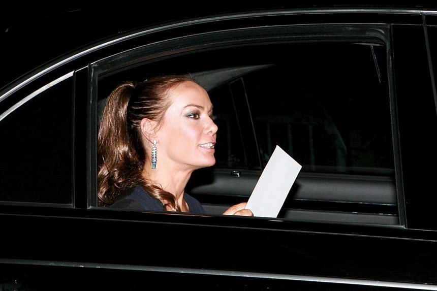 English TV personality Tara Palmer-Tomkinson arrives at Prince Charles' 60th birthday party at the High Grove Royal residence in Britain, in 2008.