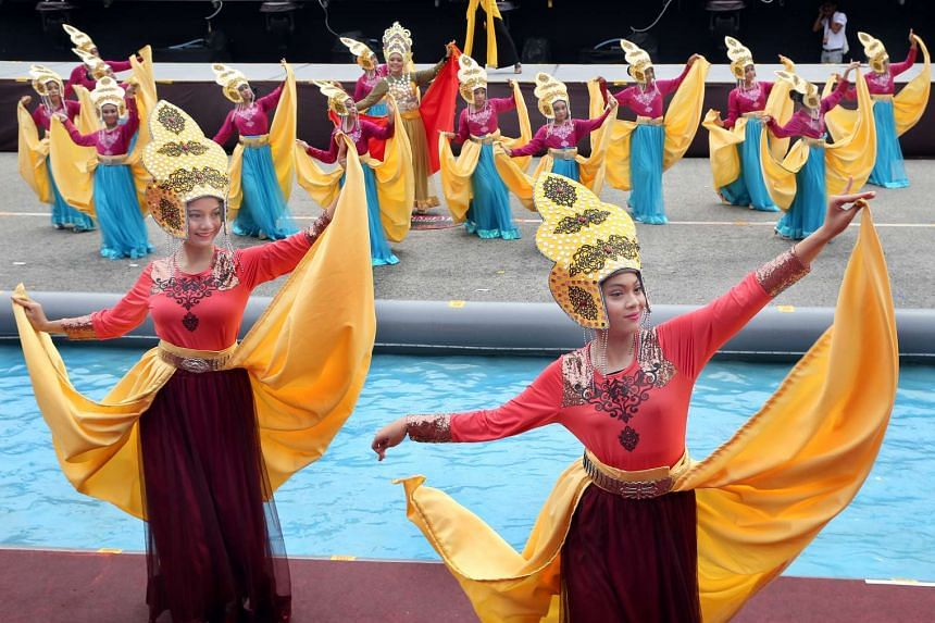 A dance troupe from Malaysia take part in the media preview for the Chingay Main Parade on Feb 9, 2017.