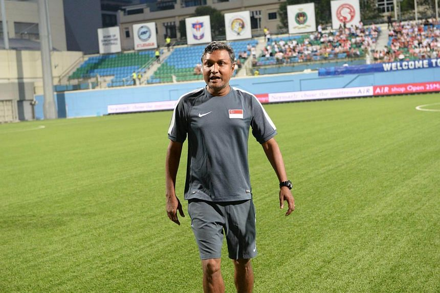 Lions coach V Sundramoorthy at the International friendly match between Singapore and Myanmar.