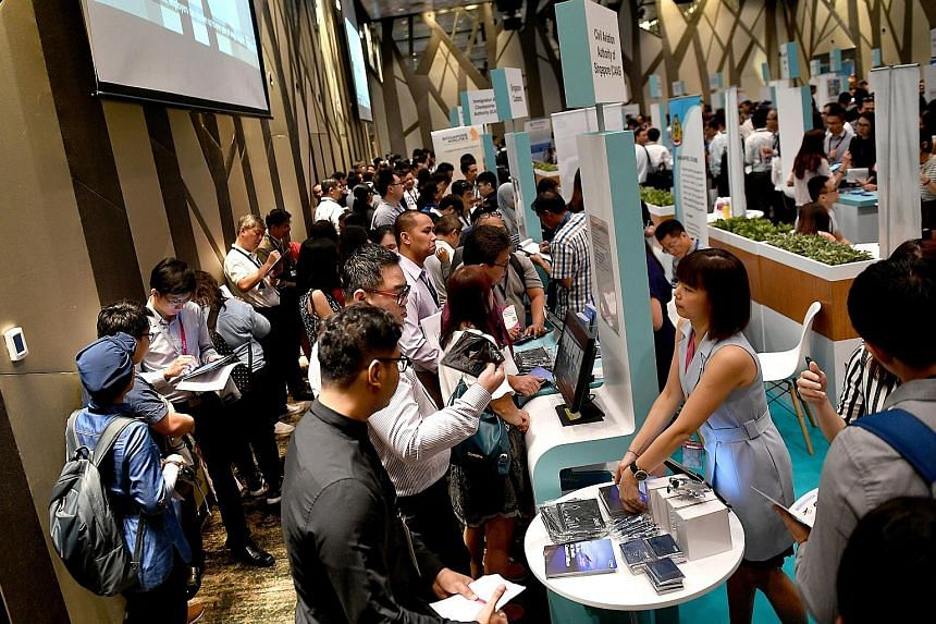 More than 2,000 people attended the career fair at Changi Airport's Crowne Plaza hotel yesterday. Among the jobs available were those in airline and airport operations, engineering and retail.