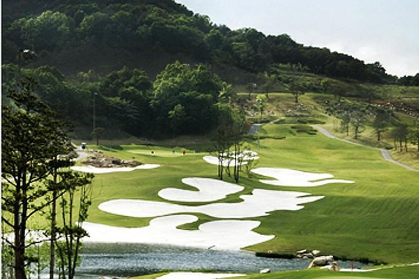 Lotte's planned theme park in Shenyang, China. The South Korean firm has run into trouble in China over Seoul's decision to deploy a US defence system in the country despite Beijing's objections. A golf course in South Korea belonging to Lotte, on wh