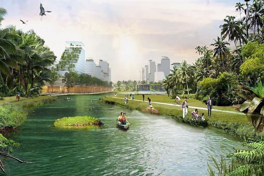 The plan to transform Jurong Lake District into a district of the future includes new waterways and green public spaces.