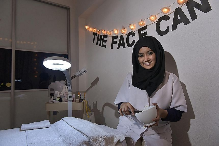 Speech and drama teacher Nareeza Abdul Rahim offers facials at her home-based salon, The Face Canvas.