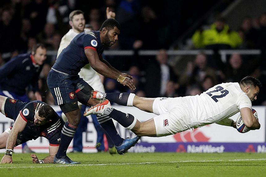 Above: Ben Te'o scoring a late try to give England a winning start in their Six Nations title defence. Despite Saturday's 19-16 home win over France, England were uninspiring and will need to raise their game in Cardiff against Wales, who were rampan