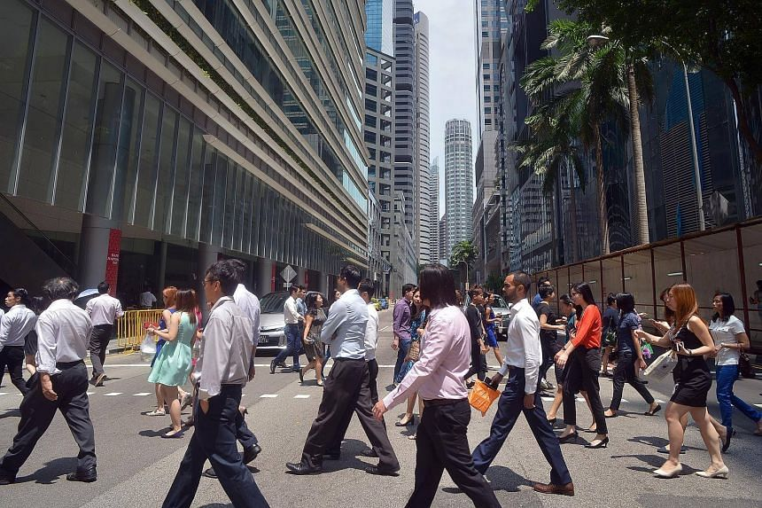 The office crowd in Central Business District (CBD) in Singapore. Companies must continue to become more innovative and those with strong growth potential should receive support to scale up.