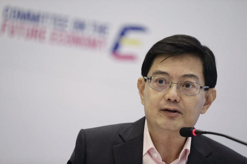 Committee on the Future Economy co-chairman Heng Swee Keat speaks during the report launch.