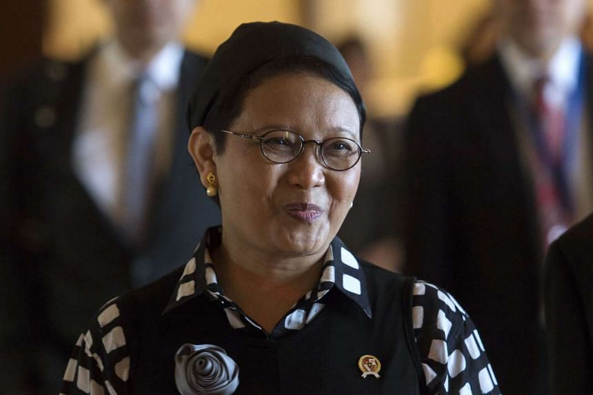 Indonesian Foreign Minister Retno Marsudi arrived in Singapore on Feb 9, 2017.