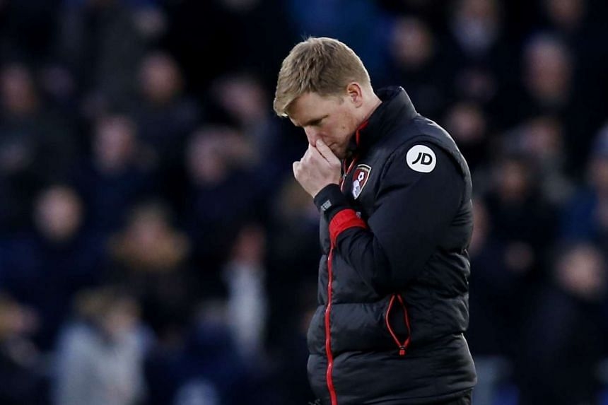 Bournemouth coach Eddie Howe reacting after his team's EPL match against Everton on Feb 4, 2017.