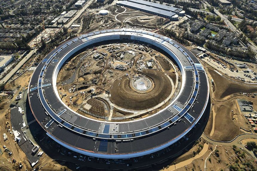 The spaceship-like Apple Campus 2 under construction in Cupertino, California.