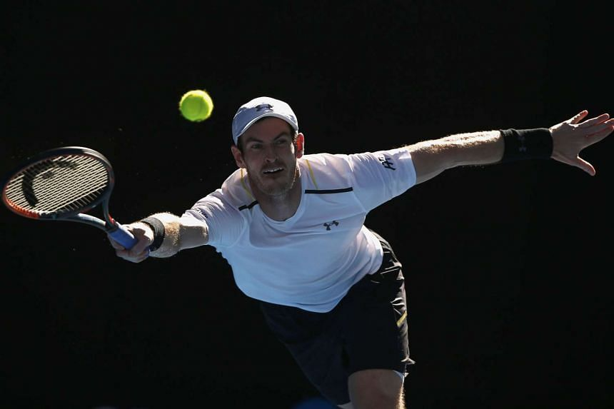 Andy Murray reaches for a shot during his Men's singles fourth round match against Mischa Zverev on Jan 22, 2017.