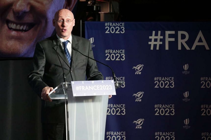 President of French Rugby Federation Bernard Laporte giving a press conference on Feb 9 in Paris regarding France's bid to host the 2023 Rugby World Cup.