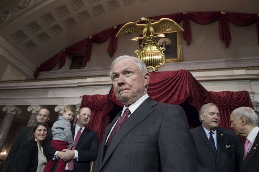 US Attorney General Jeff Sessions attends the mock swearing-in of Luther Strange as Republican Senator of Alabama, in the old Senate chamber on Capitol Hill in Washington, DC, US on Feb 9, 2017.