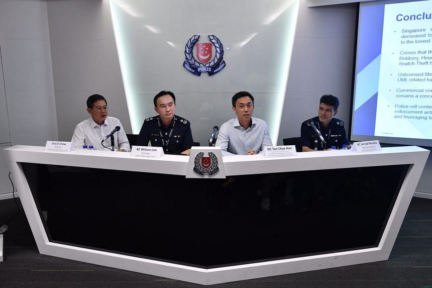 (From left) Director of Commercial Affairs Department David Chew, Director of Public Affairs Department AC Wilson Lim, Deputy Commissioner of Police DC Tan Chye Hee, and Deputy Director of Operations Department AC Jarrod Pereira.