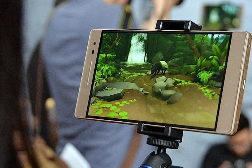 A tapir can be seen at the augmented reality exhibition at the ArtScience Museum.