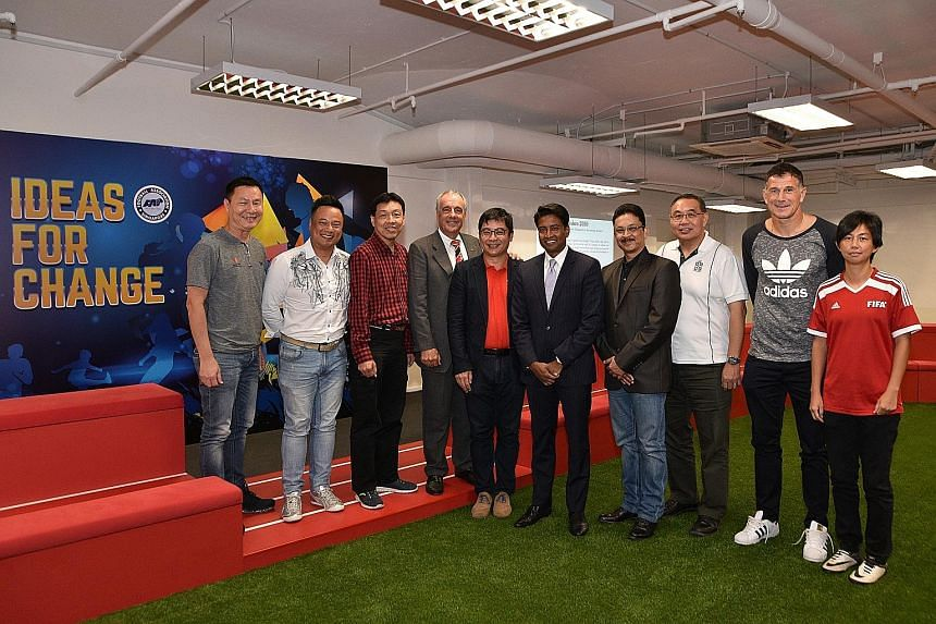 "At the first session of ""Ideas for Change"" yesterday, nine guest speakers, including ActiveSG Football Academy principal and ex-national team striker Aleksandar Duric (second from right), spoke about playing football for better growth and health. The"