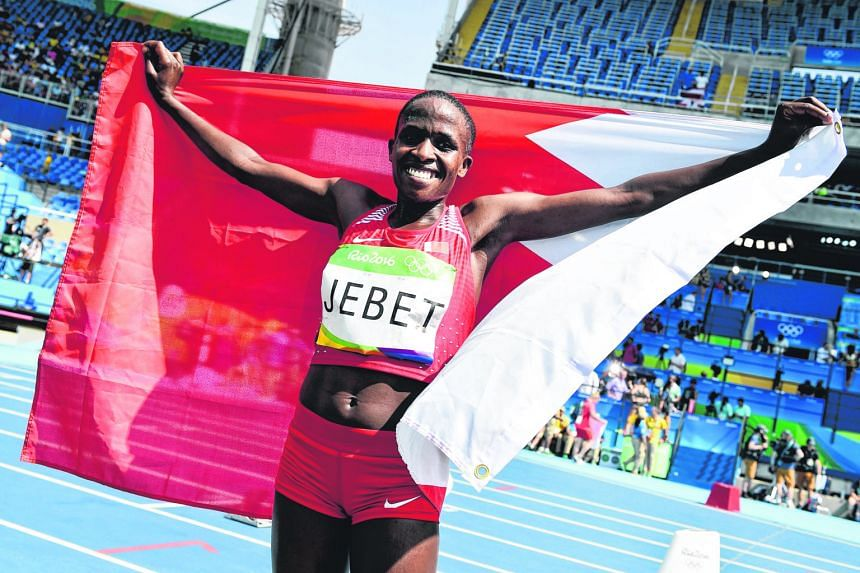 Ruth Jebet after winning the Rio Games 3,000m steeplechase last August. She later set the world record at the IAAF Diamond League meeting in Paris.
