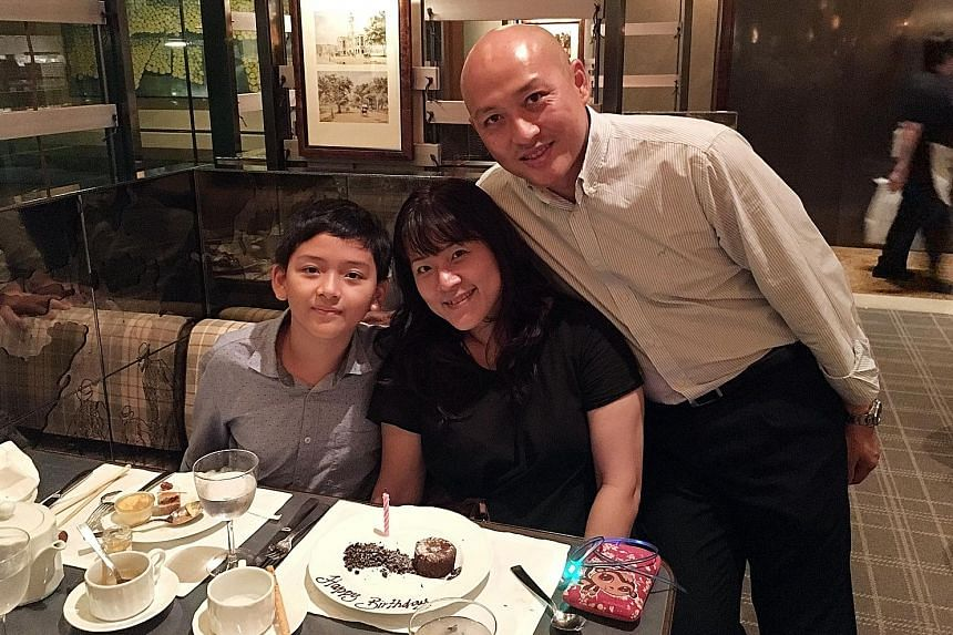 """Above: Mr Chua, his wife Angel and their son Ace. As a result of their three-year stay in Dubai, Ace had to catch up on his studies and get used to a """"different culture"""" in school here upon their return. Left: Mr Toh, his wife Melissa and their son N"""