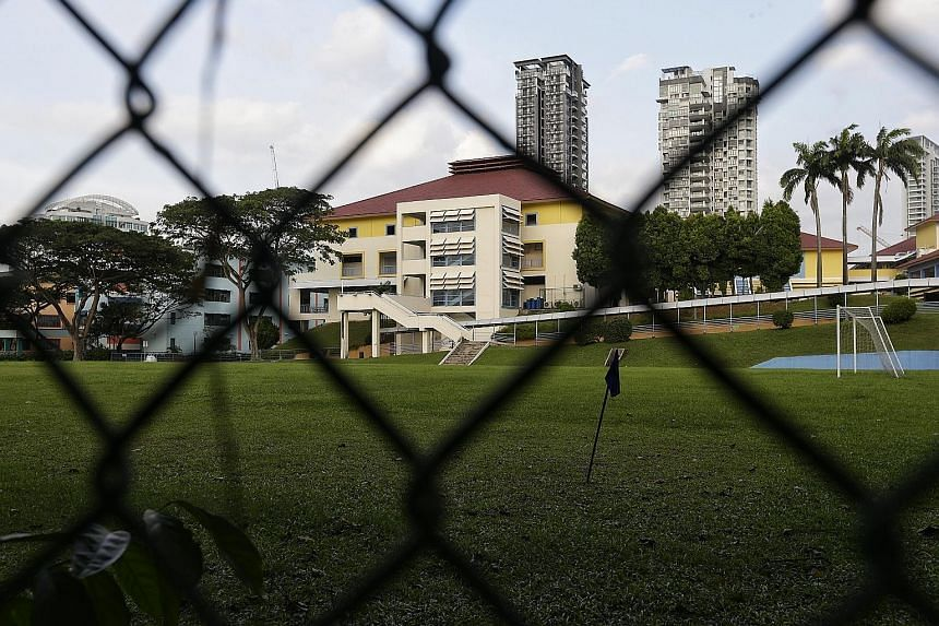 The former Balestier Hill Secondary School compound is one of 11 school sites that have been vacated over the past two years, following MOE's announcement last year of its biggest merger exercise in the past five years. The slope leading up to the ga
