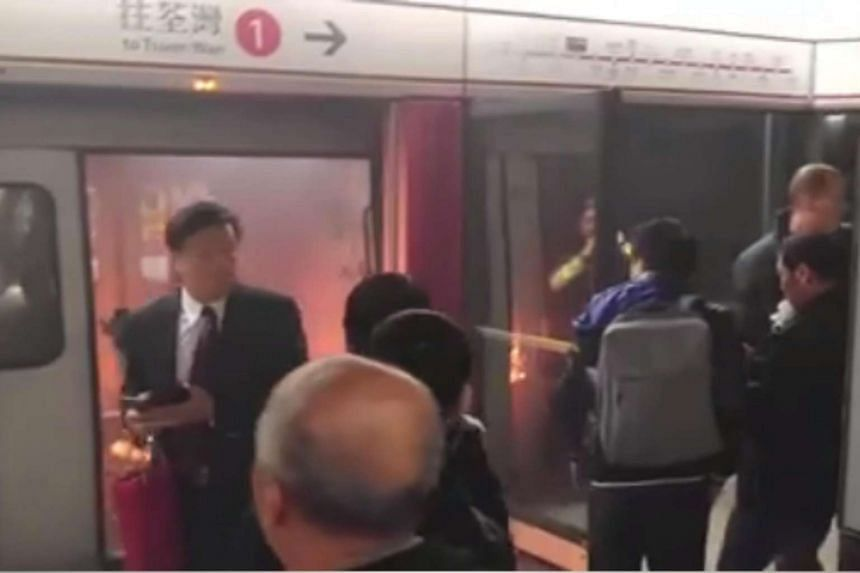 A fire broke out on a Hong Kong train at Tsim Sha Tsui station on Friday (Feb 10), causing injury to several people.