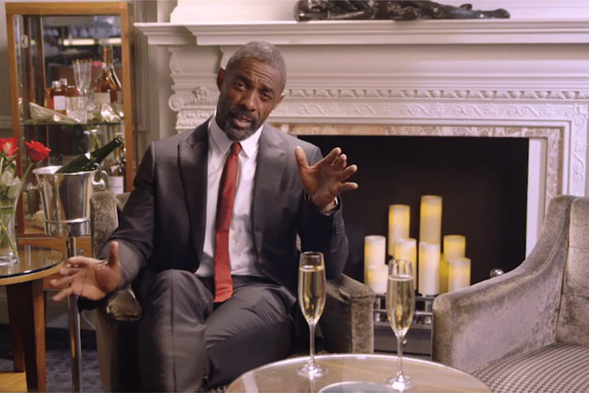 """""""That's right, love,"""" English actor Idris Elba says in his valentine-seeking Facebook video. """"Just you and me. No one else around. Just us."""""""