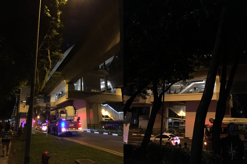 Members of the SCDF and the police at Bakau LRT at 8.25pm on Feb 10, 2017.