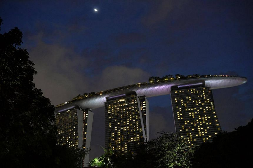 The Marina Bay Sands Hotel & Sands Skypark from Gardens by the Bay.