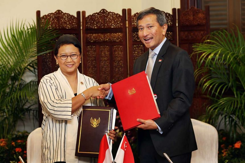 Indonesian Minister for Foreign Affairs Retno Marsudi was visiting Singapore at the invitation of her Singapore counterpart Vivian Balakrishnan.