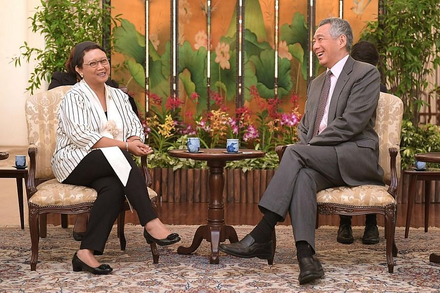 Indonesian Foreign Minister Retno Marsudi calling on Prime Minister Lee Hsien Loong at the Istana yesterday, as they reaffirmed the importance of closer bilateral cooperation. Yesterday, she and Foreign Minister Vivian Balakrishnan also announced the
