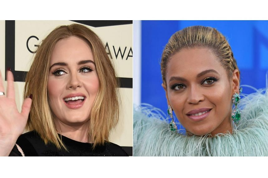 Adele (left) and Beyonce each won nominations on Dec 6, 2016 in three of the four top Grammy categories, setting the stage for a battle between the two singers to dominate music's biggest awards.