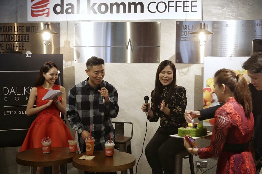 Kang Gary was in Singapore for the grand opening of Korean cafe chain dal.komm COFFEE's first outlet on Feb 11, 2017.
